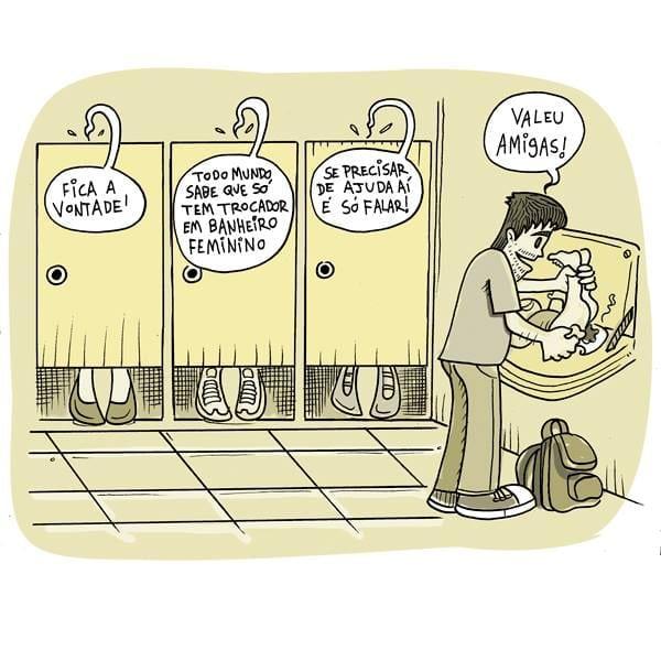 Ilustrador usa trocador em banheiro feminino (Crédito: Rodrigo Bueno)
