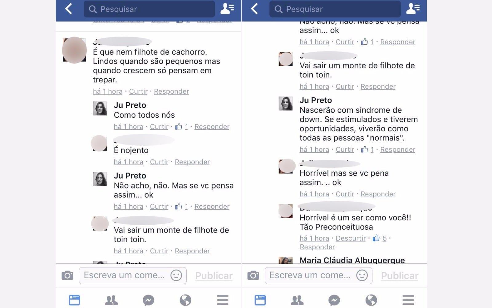 Comentários feitos na página da tia do menino (Foto: Reprodução)