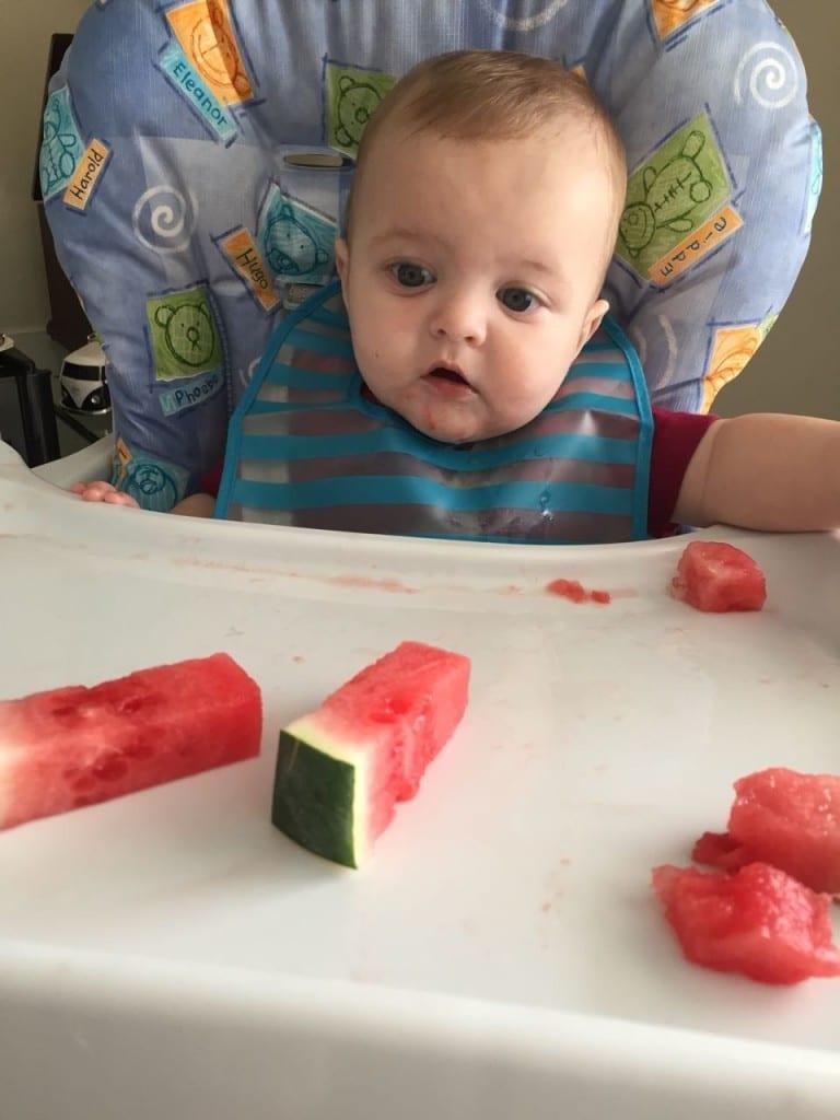 Comida é colocada na frente do bebê para ele se servir